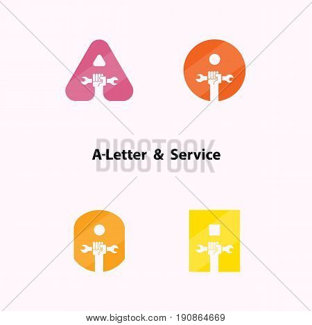 A-letters and human hand icon with wrench vector logo design template. Service tool icon.Maintenance and Technical support concept.Vector illustration.
