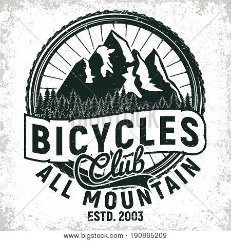 Vintage bicycles club logo design, all-mountain bikers grange print stamp, creative typography emblem, Vector