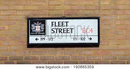 London Fleet Street Sign