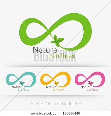 Logo infinity with leaf infinite nature definition concept . Vector illustration