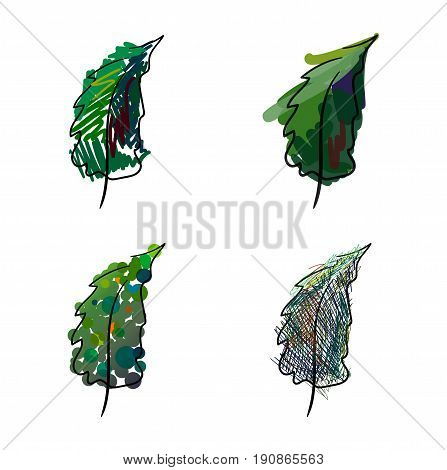 Four stylized hand-painted spruce on a white background
