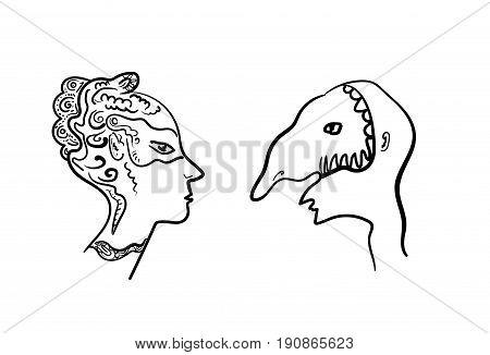 Two masked profiles. Masquerade Vector eps 10