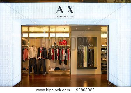 HONG KONG - CIRCA SEPTEMBER, 2016: Armani Exchange store in Hong Kong. It retails fashion and lifestyle products and is known for its occasionally provocative ad campaigns.