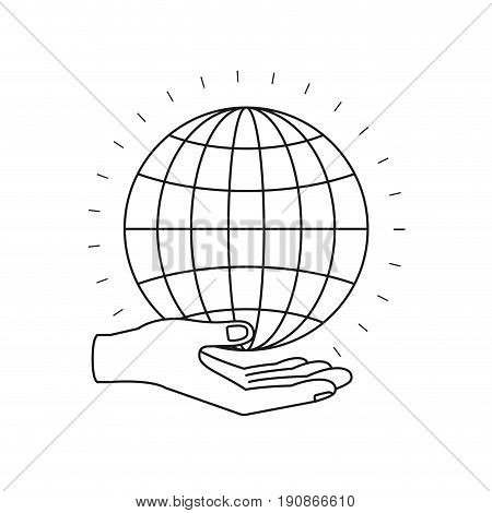 silhouette hand palm giving a globe chart charity symbol vector illustration