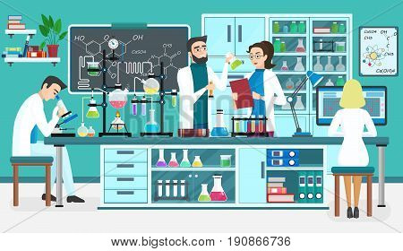 Laboratory people assistants working in scientific medical biological lab. Chemical experiments. Cartoon vector illustration