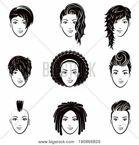 Vector set of stylized logo with beautiful women hairstyles. Fashion stylish collection of fashionable hairstyle