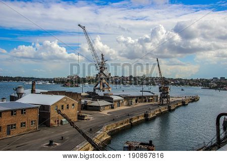 Old disused cranes on the Cockatoo Island docks in Sydney