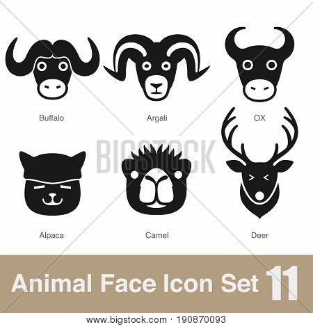 Animal Face Flat Icon,  Vector