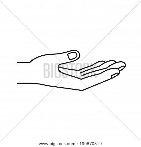 silhouette extended hand of symbol of receiving vector illustration