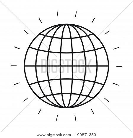 silhouette front view globe earth world chart with lines vector illustration
