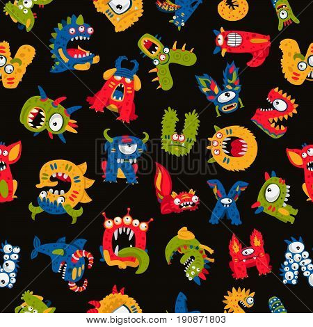 Seamless vector pattern of different monsters on a black background. Excellent print for children's t-shirt, packing paper. Alphabet made up of fictitious animals.