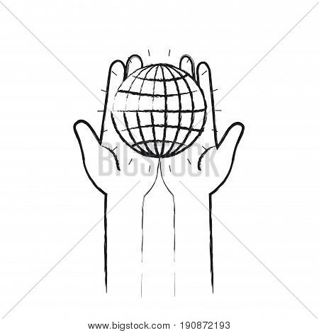 blurred silhouette front view of hands holding in palms a globe chart with lines vector illustration