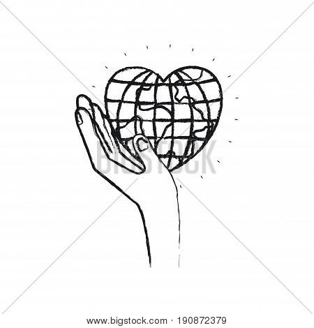 blurred silhouette left hand holding in palm a earth globe world in heart shape vector illustration