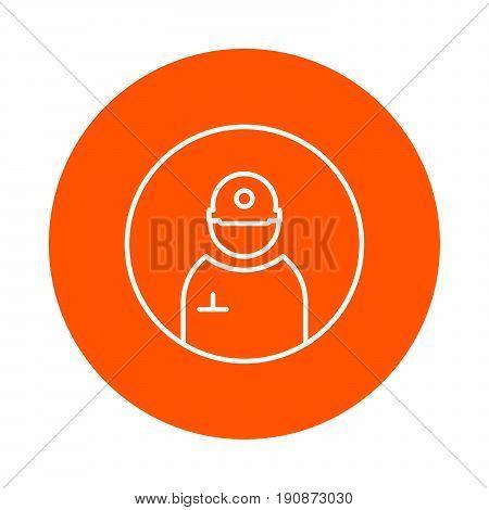 Builder in a helmet vector round monochrome line icon
