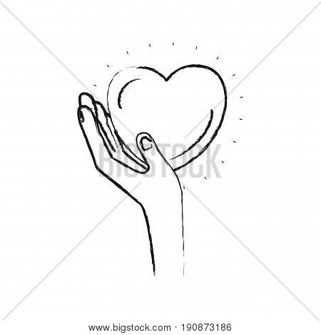 blurred silhouette left hand holding in palm a heart charity symbol vector illustration