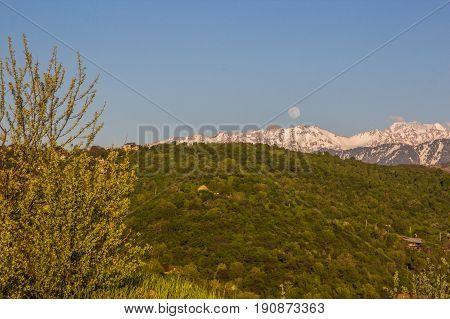 Full Moon Over The Mountains Landscape Near Talgar Peak, Tien-shan, Almaty, Kazakhstan