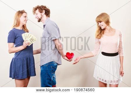 Sneaky Man With Two Women