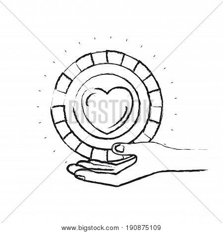 blurred silhouette hand palm giving a coin with heart shape inside charity symbol vector illustration