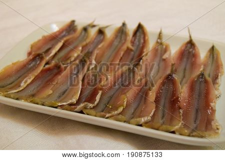 Headless salty anchovy fish in ceramic plate on white tablecloth background
