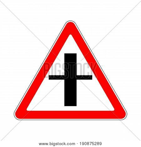 Illustration of Triangle Warning Sign. Crossroads Warning Main Road Sign