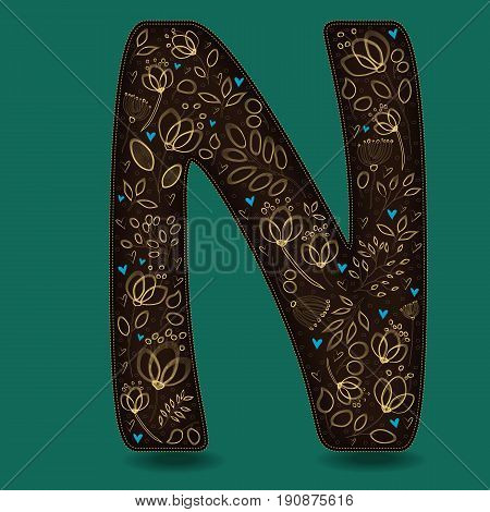 The Letter N with Golden Floral Decor. Dark brown symbol. Yellow flowers and plants with metallic blazing effect. Blue small hearts. Vector Illustration