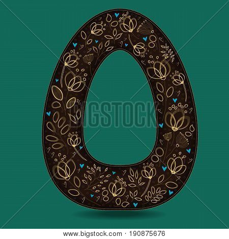 The Letter O with Golden Floral Decor. Dark brown symbol. Yellow flowers and plants with metallic blazing effect. Blue small hearts. Vector Illustration
