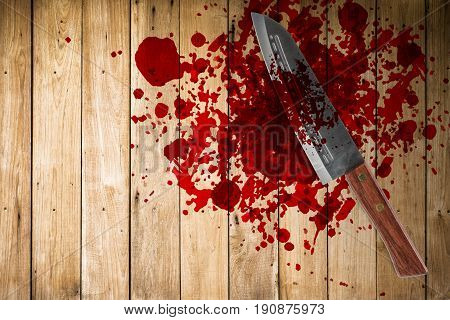 knife with grunge of blood on wood floor halloween bloody murder or death crime killer violation concept.