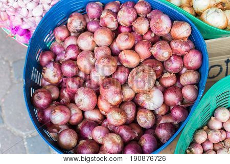 whole sale shallot in vegetable Thailand market.