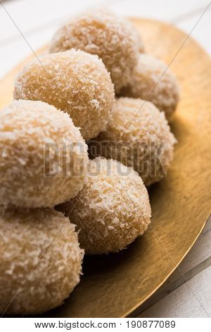 homemade Coconut Ladoo  / Sweet Laddu made with coconut and milk, selective focus