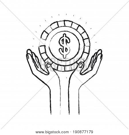 blurred silhouette hands with floating coin with dollar symbol inside vector illustration