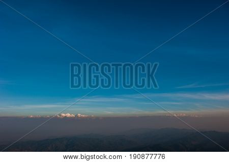 Landscape view from top of mountain on misty morning across countryside Landscape misty