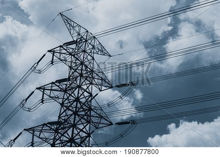 electricity high power tower vintage color tone