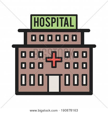 Hospital, medical, reception icon vector image. Can also be used for town. Suitable for use on web apps, mobile apps and print media.