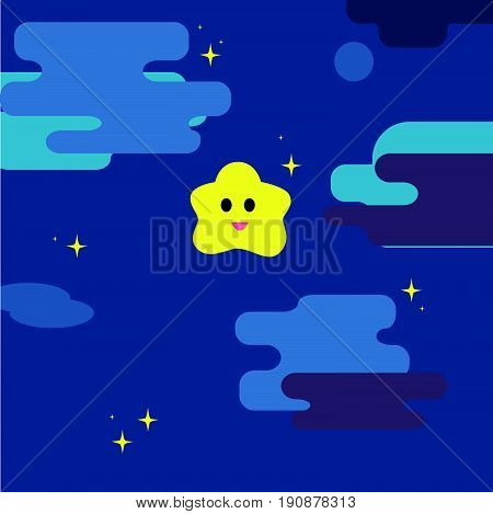 Twinkle little star with night sky background vector