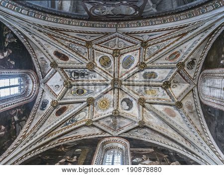SEGOVIA SPAIN JUNE - 3 2017: The gothic vault of Chapel Our Lady of Rosary in Cathedral of Our Lady of Assumption with the neoclassicistic frescoes take in Segovia Spain