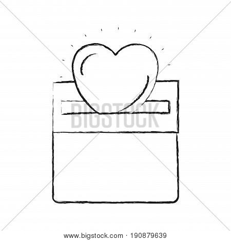 blurred silhouette front view flat heart depositing depositing in rectangular slot of carton box vector illustration