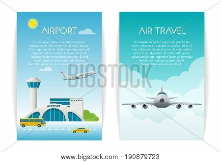 Air travel Concept web banner set. Arrivals at airport passenger terminal and flying commercial and private personal transport passenger jet.
