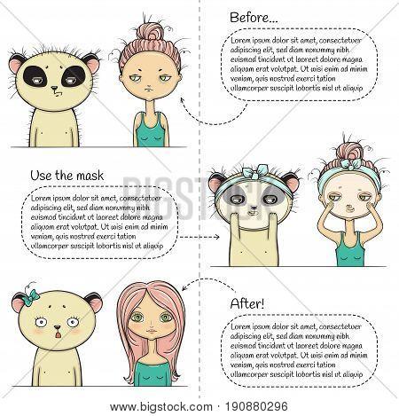 Cute Facial treatment three steps instruction, girl and panda. Vector illustration.