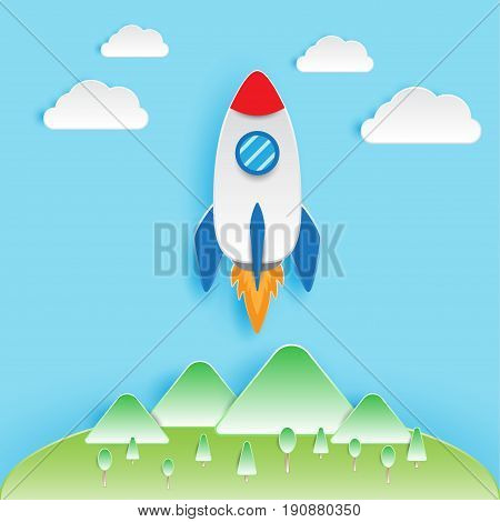 Papercut Artwork Designed as A Rocket Is Soaring From Forest & Mountains Into The Sky Refers To Startup Business Concept