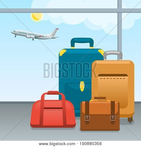 Baggage, suitcases and bags in airport. Checked in Big packed and hand luggage for traveling by aircraft.