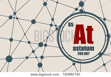 Astatum chemical element. Sign with atomic number and atomic weight. Chemical element of periodic table. Molecule And Communication Background. Connected lines with dots.