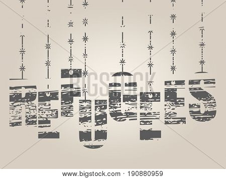 Image relative to migration from africa to european union. Refugees text hanging by barbed wire. Distressed grunge texture