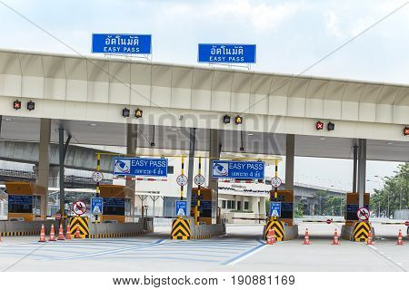 Bangkok,THAILAND-November 11 2016: Express way Tollway or motorway gate for pay toll fee Bangkok Thailand.