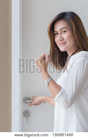 Women Open The Door With Hand Sign Fighting With Something New Chance Concept.
