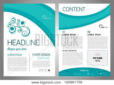 Vector Flyer, Corporate Business, Annual Report, Brochure Design And Cover Presentation With Floral