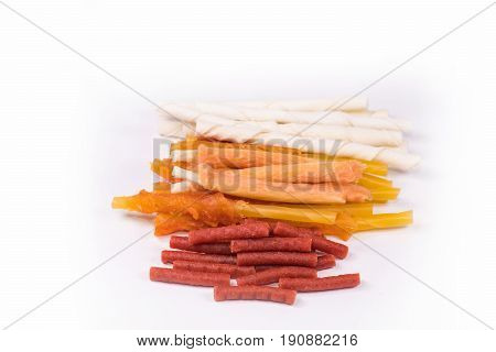 Delicious of Dog snack Dog Food Dog Chews Dog biscuits on white background.