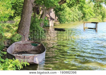 Old Boat On Pond With Trees. Czech Landscape