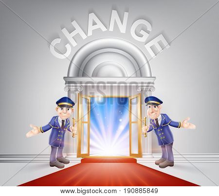 Change Door concept of a doormen holding open a red carpet entrance to change with light streaming through it.