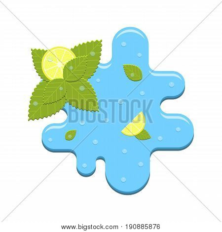 Vector realistic mint and lemon in water isolated on white background. Flat icon of ingredients for fresh detox diet cocktail.