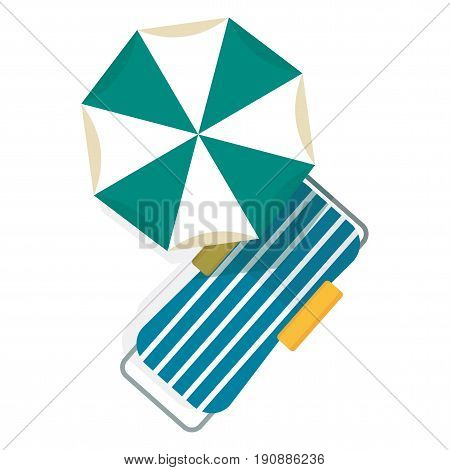 Bright beach umbrellas and beach chaise lounges top view on white background. Beach vacation on sand on ocean or sea, near pool in hotel. Sunbed for relaxation and umbrella for sun protection. Flat vector cartoon icon.
